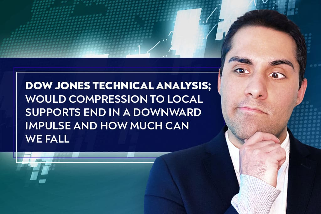 Dow Jones Technical Analysis; Would compression to local supports end in a downward impulse and how much can we fall